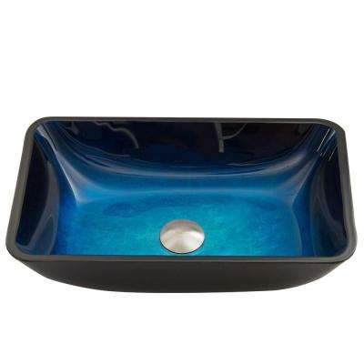 Glass Vessel Sink in Rectangular Turquoise Water