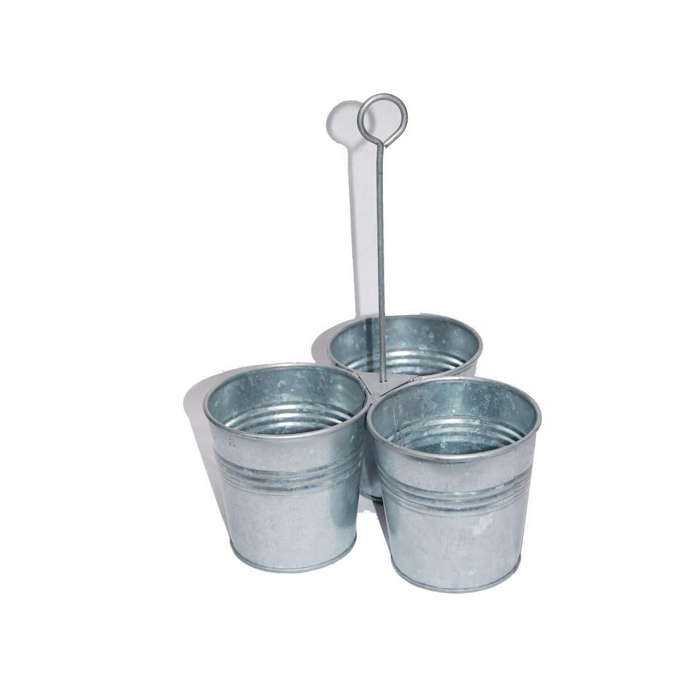 Galvanized Metal Gray Color Cutlery Holder with 3-Buckets and Ring Holder