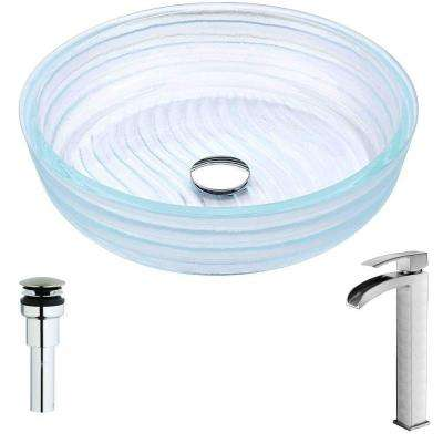 Canta Series Deco-Glass Vessel Sink in Lustrous Translucent Crystal with Key Faucet in Brushed Nickel