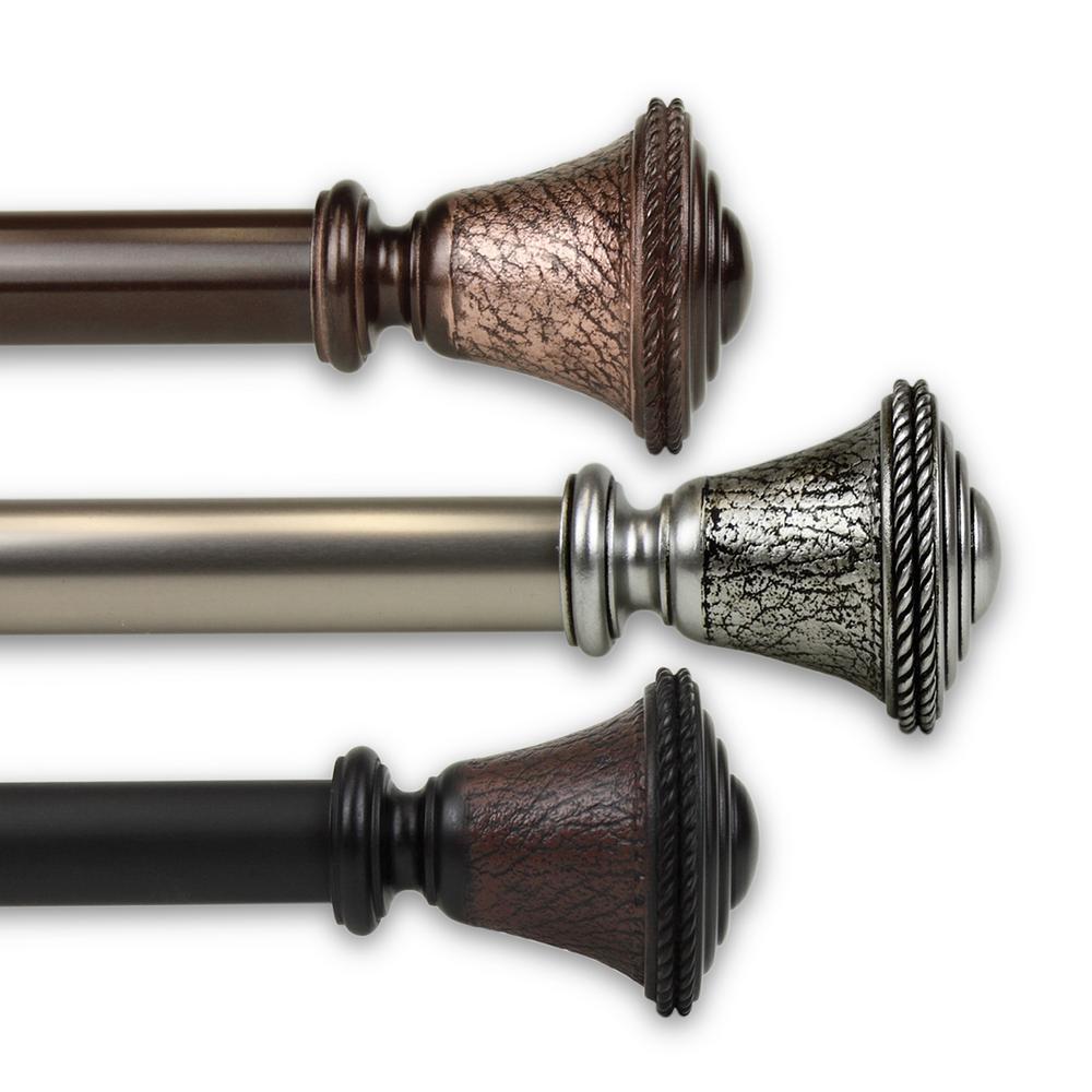 Rod Desyne Urn 1 in. Single Curtain Rod 120 in. to 170 in. in Black