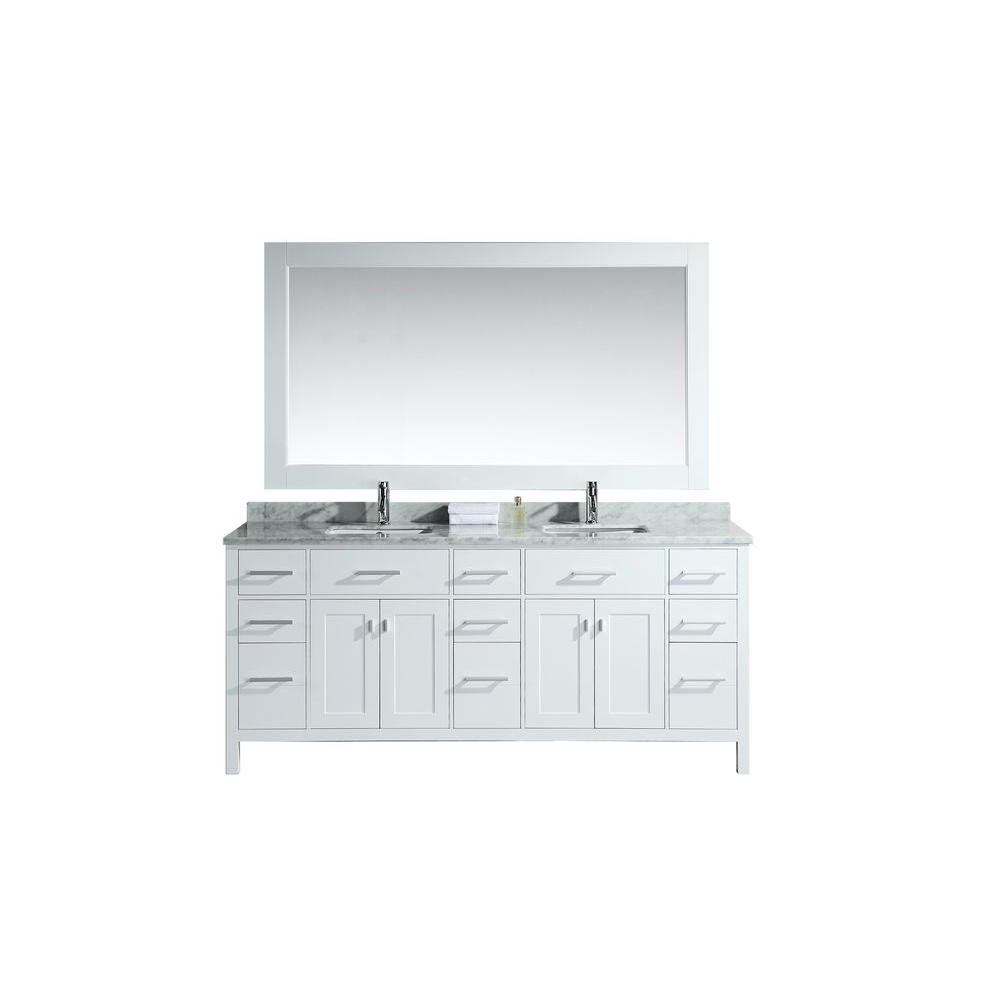 Design Element London 78 in. W x 22 in. D Double Vanity in White with Marble Vanity Top and Mirror in Carrara White