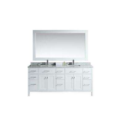 London 78 in. W x 22 in. D Double Vanity in White with Marble Vanity Top and Mirror in Carrara White