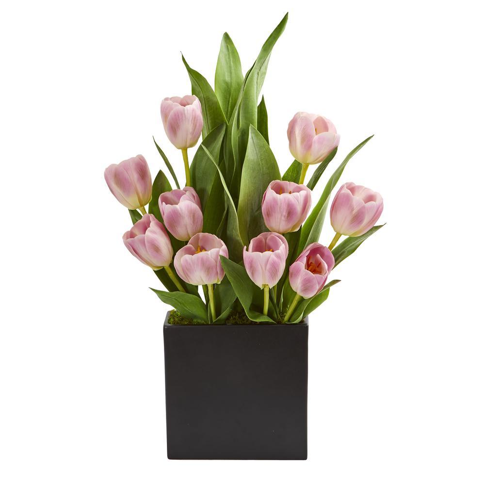 Indoor Tulips Artificial Arrangement in Black Vase