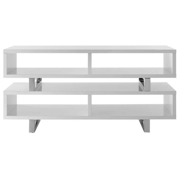 Amble 47 in. White Wood TV Stand Fits TVs Up to 45 in. with Open Storage