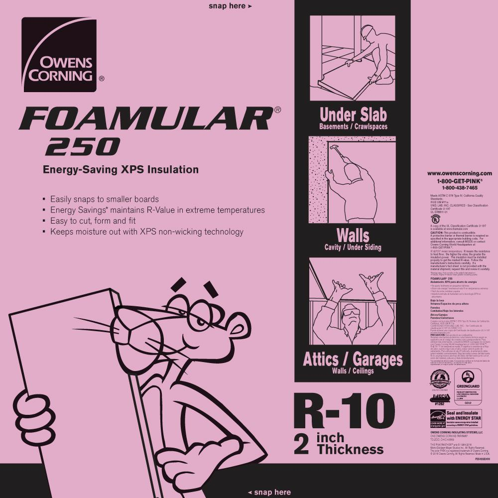 Owens Corning FOAMULAR 250 2 in. x 48 in. x 8 ft. R-10 Scored Squared Edge Insulation Sheathing
