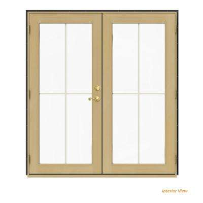 72 in. x 80 in. W-2500 Bronze Clad Wood Right-Hand 4 Lite French Patio Door w/Unfinished Interior