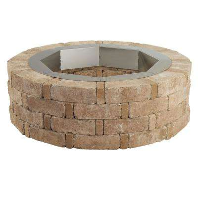 RumbleStone 46 in. x 14 in. Round Concrete Fire Pit Kit No. 2 in. Cafe with Round Steel Insert