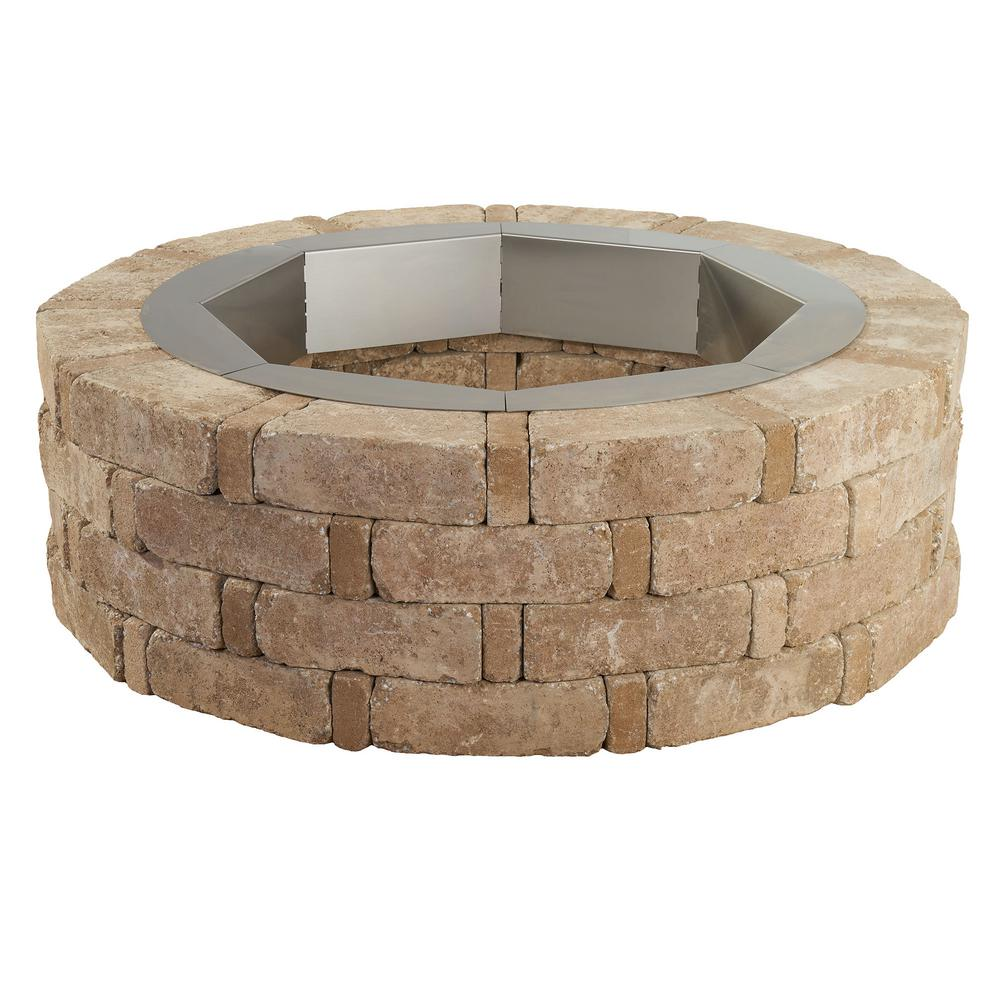 Pavestone RumbleStone 46 in. x 14 in. Round Concrete Fire Pit Kit No. 2 in Cafe with Round Steel Insert
