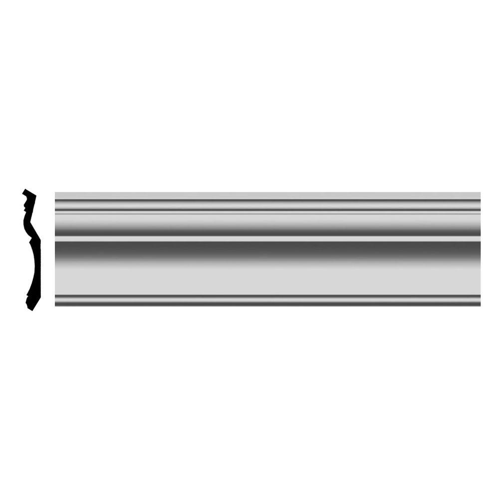 Ekena Millwork 3-7/8 in. x 5-1/2 in. x 96 in. Polyurethane Traditional Smooth Crown Moulding