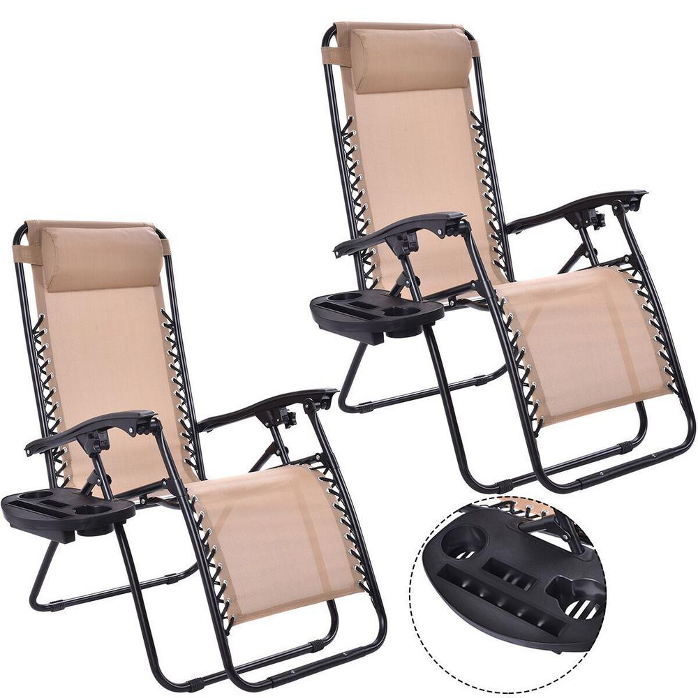 Boyel Living 2 Pieces Steel Frame Outdoor Patio Folding Portable Zero Gravity Reclining Chaise Lounges Chairs Set In Beige Wf Op3026 2be The Home Depot