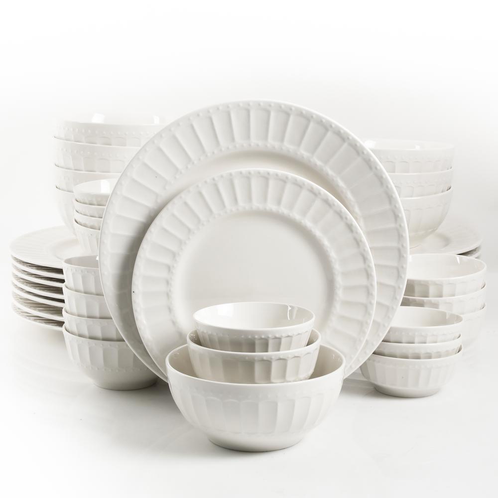 Melbourne 40-Piece Embossed White Ceramic Dinnerware Set (Service for 8)