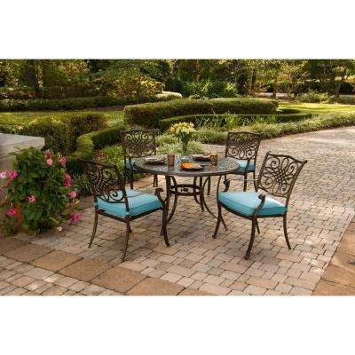 Traditions 5-Piece Aluminum Outdoor Round Patio Dining Set with Blue Cushions