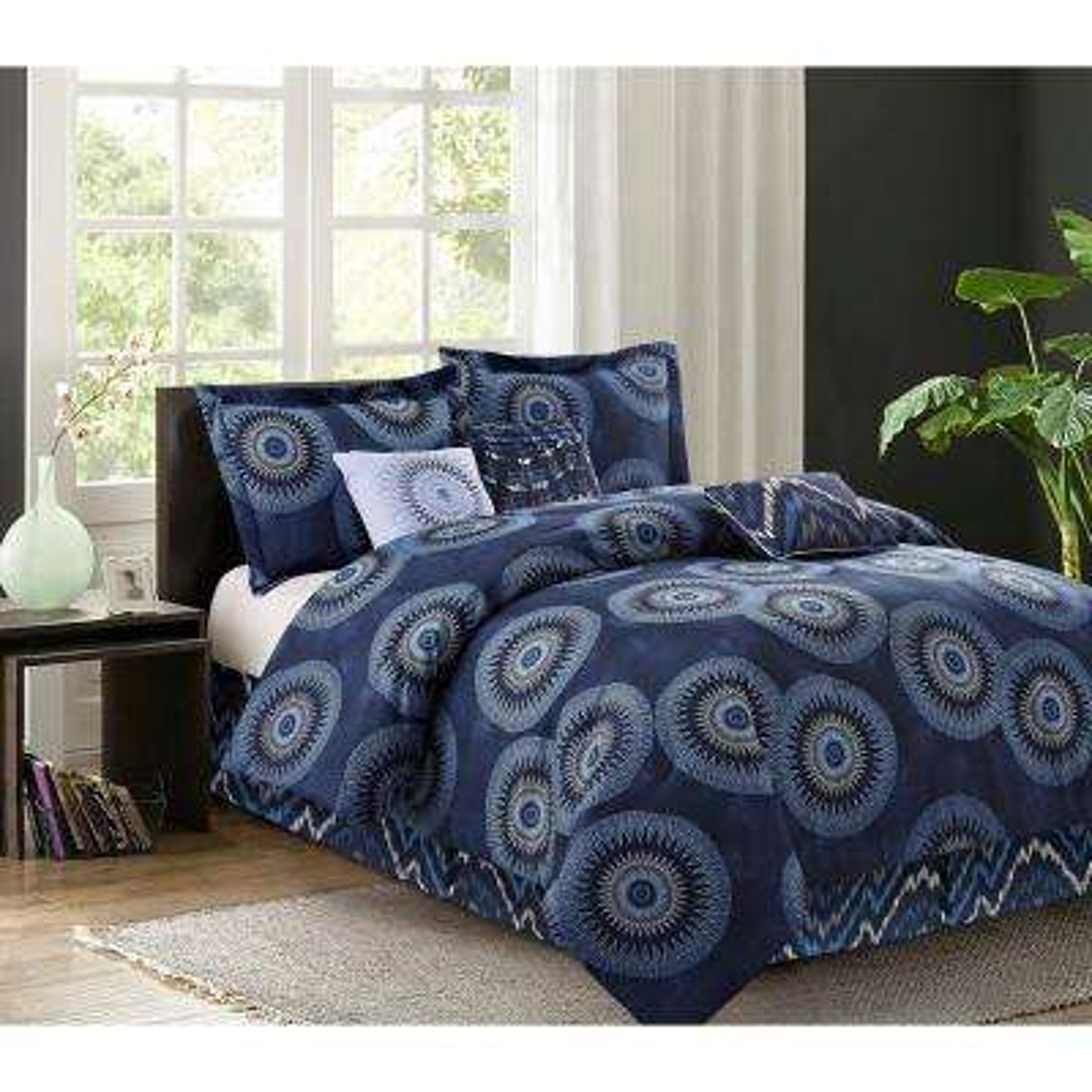 Marrakesh 7-Piece Navy King Comforter Set