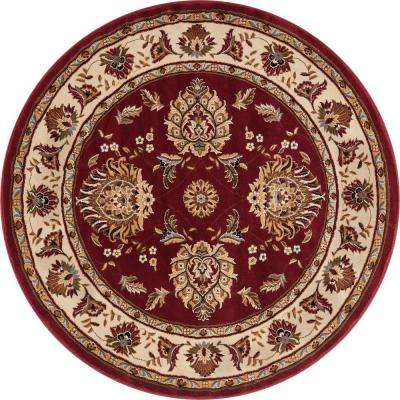 Timeless Abbasi Red Traditional Oriental 8 ft. x 8 ft. Round Area Rug