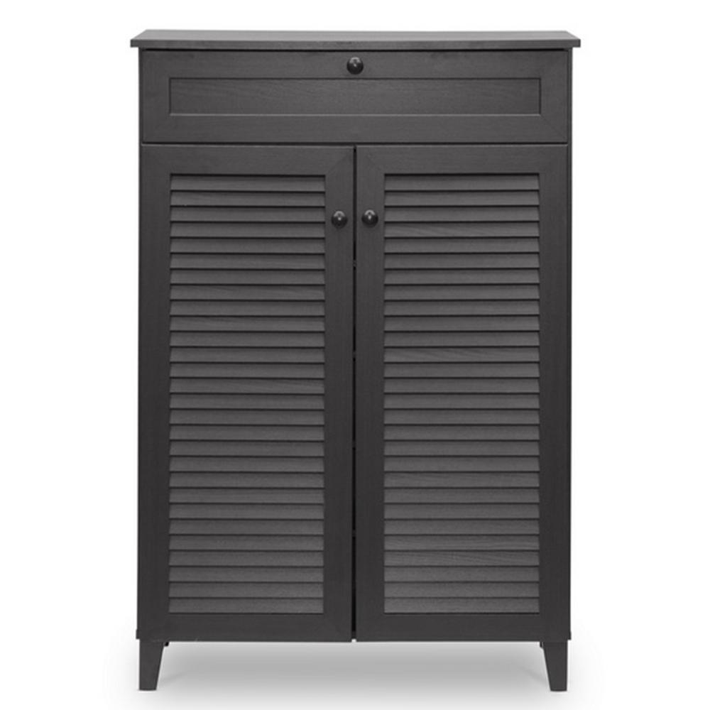 Baxton Studio Baxton Studio Harding Wood Shoe-Storage Cabinet in Dark Brown Espresso, Dark Brown Wood