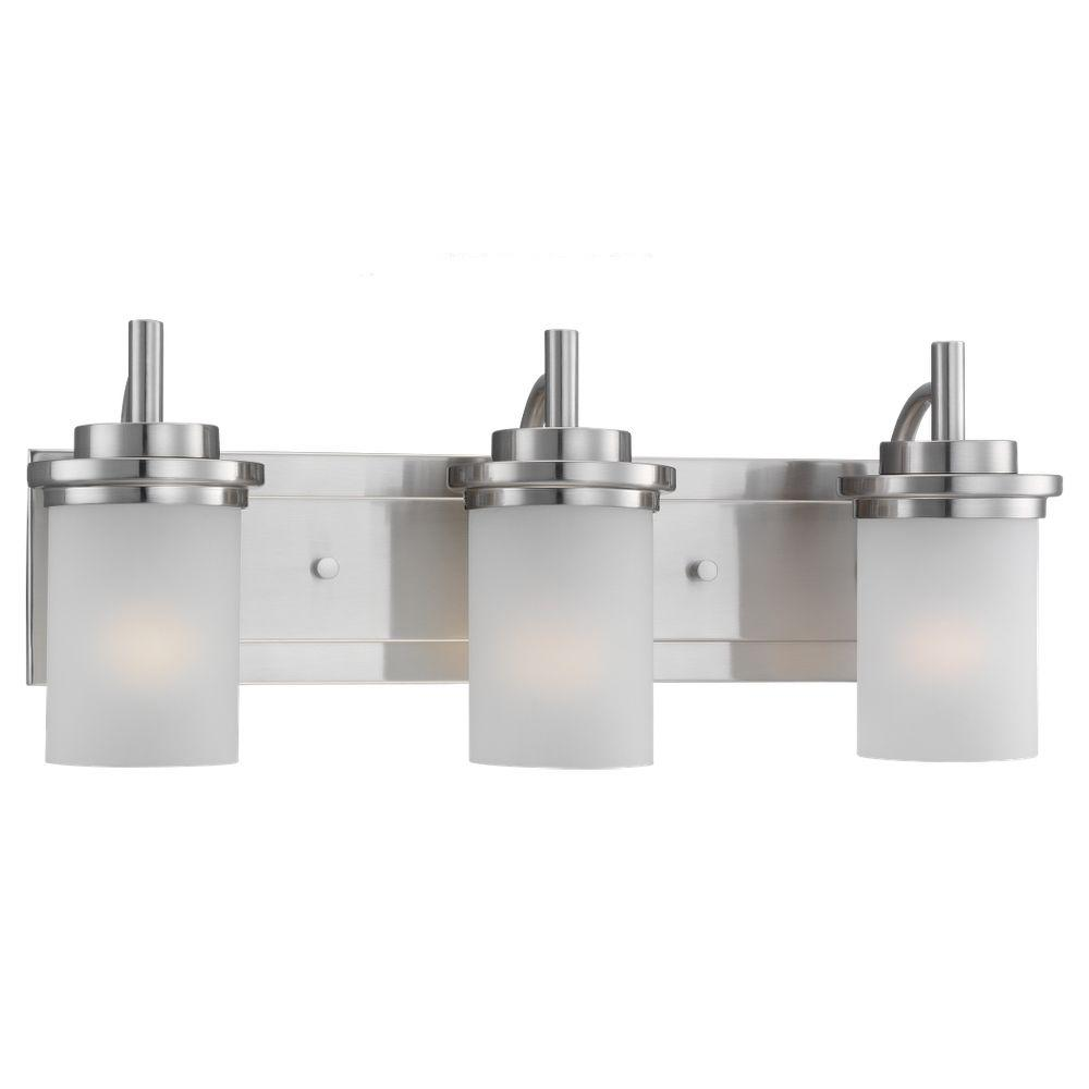 Vanity Light Home Depot: Sea Gull Lighting Winnetka 3-Light Brushed Nickel Vanity