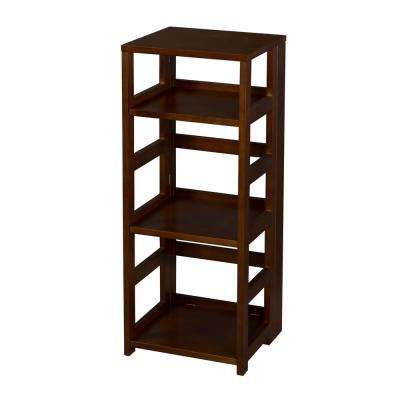Flip Flop Mocha Walnut 3-Shelf Square Folding Bookcase