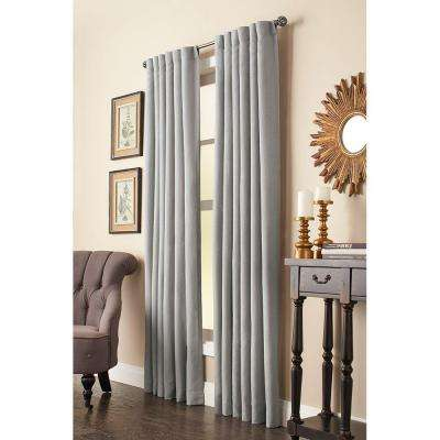 Semi-Opaque Grey Faux Linen Back Tab Curtain - 50 in. W x 84 in. L (1 Panel)
