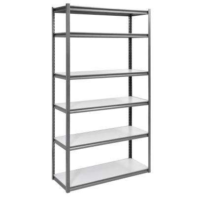 84 in. H x 48 in. W x 18 in. D 6-Shelf Steel Storage Shelving Unit in Silvervein