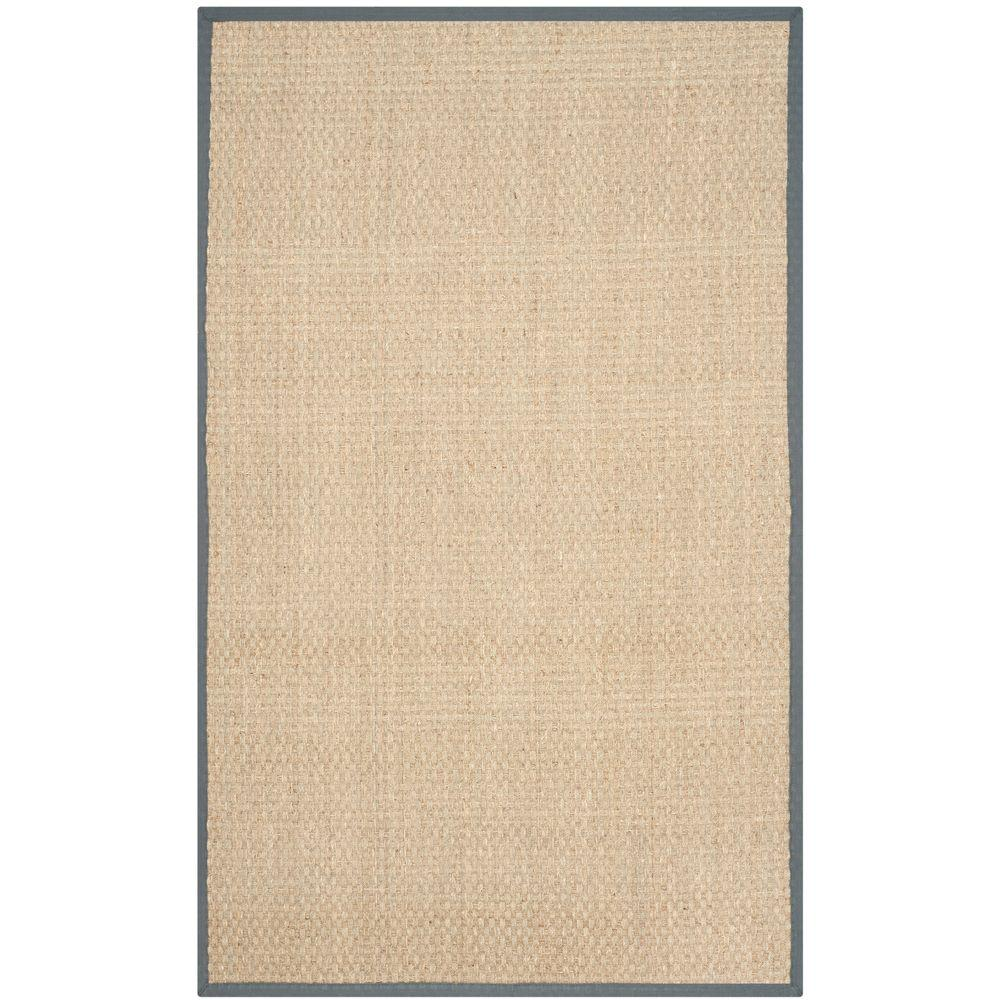 Safavieh natural fiber beige dark grey 4 ft x 6 ft area for Grey and tan rug