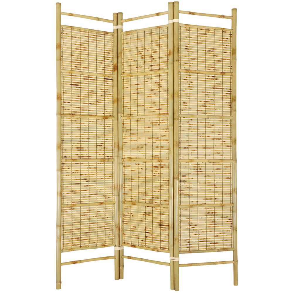 6 ft Natural 3 Panel Burnt Bamboo Room Divider SSCBBAM The Home Depot
