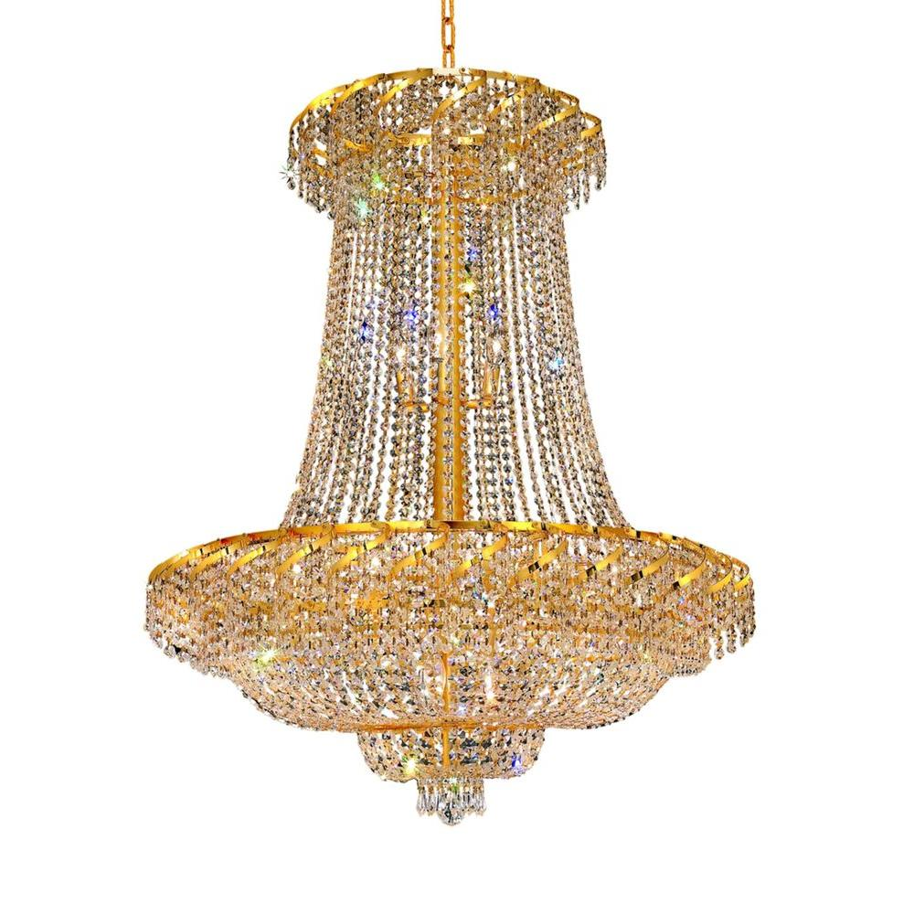 Elegant Lighting 22-Light Gold Chandelier with Clear Crystal