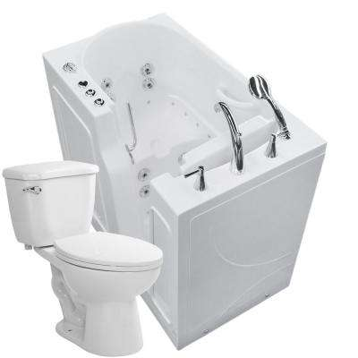 45.75 in. Walk-In Whirlpool and Air Bath Tub in White with 1.28 GPF Single Flush Toilet