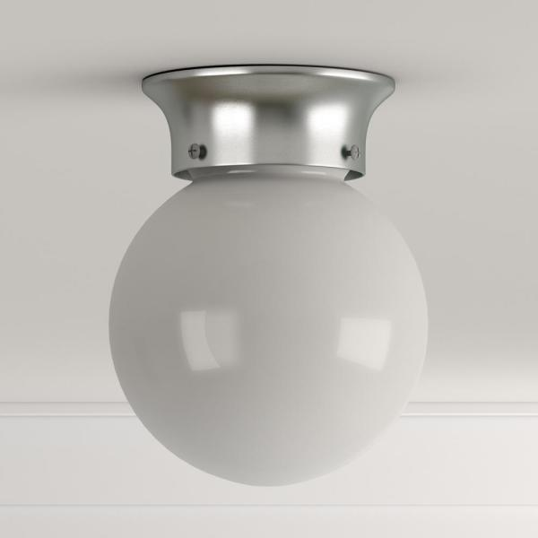 Flush Grey Metal Ceiling Light Fitting Frosted Glass Shade LED Candle Bulb Lamp