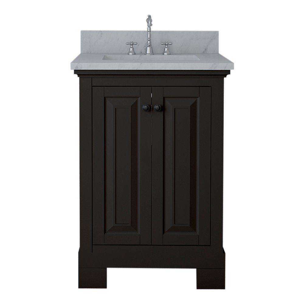 Alya Bath Richmond 24 in. W x 22 in. D Bath Vanity in Espresso with Marble Vanity Top in White with White Basin