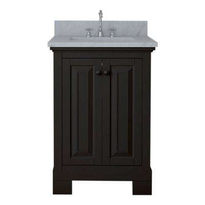 Richmond 24 in. W x 22 in. D Bath Vanity in Espresso with Marble Vanity Top in White with White Basin