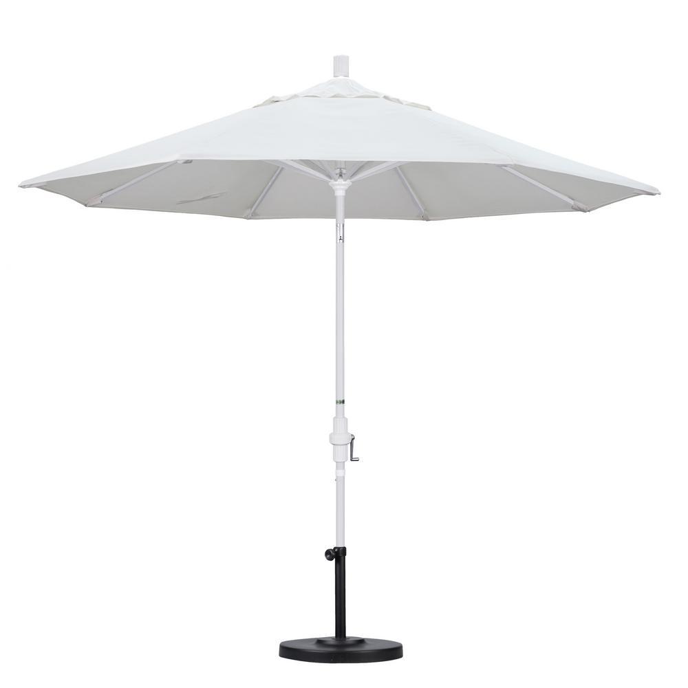 Ordinaire California Umbrella 9 Ft. Aluminum Collar Tilt Patio Umbrella In White  Olefin