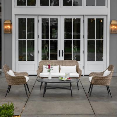 Amberly Brown 4-Piece Wicker Outdoor Conversation Set with White Cushions