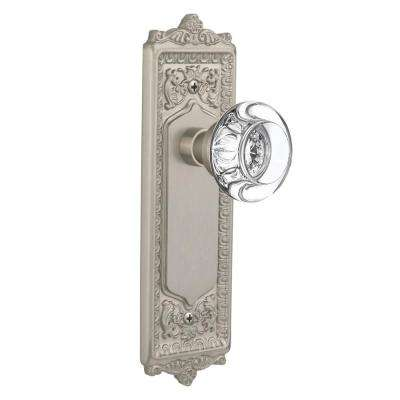 Egg and Dart Plate Double Dummy Round Clear Crystal Glass Door Knob in Satin Nickel