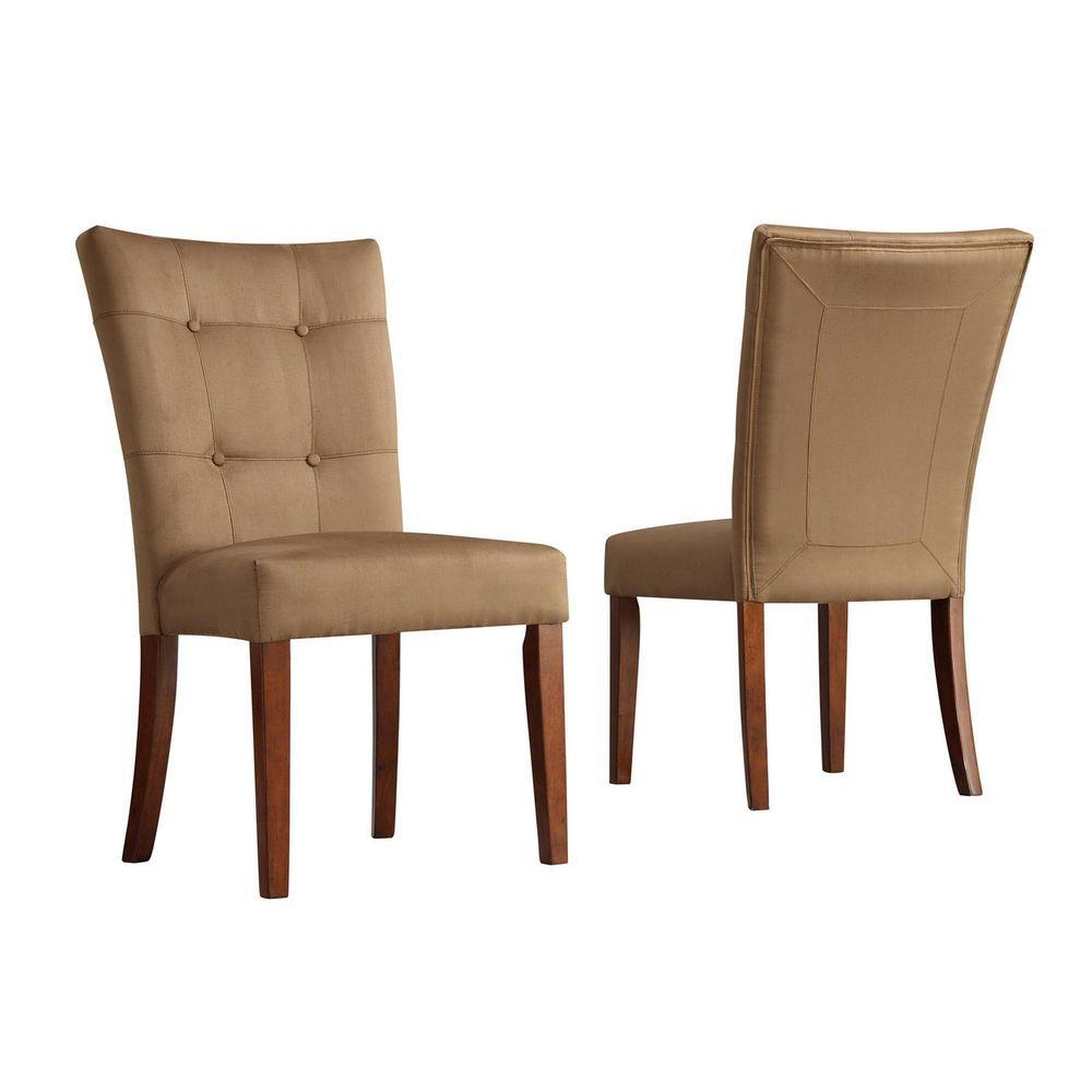 Home Decorators Collection 18 in. H Peat Microfiber Side Chairs (Set of 2)