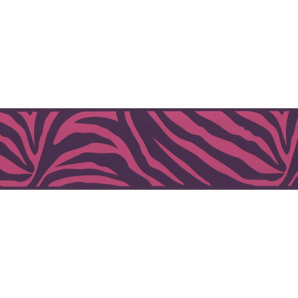 Zebra Crossing Pink Zebra Border Wallpaper Sample