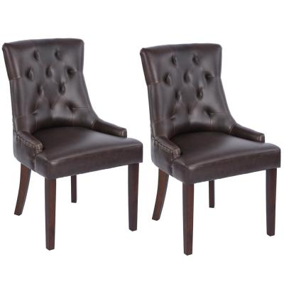 Gerry Brown PU Tufted Accent Chair (Set of 2)