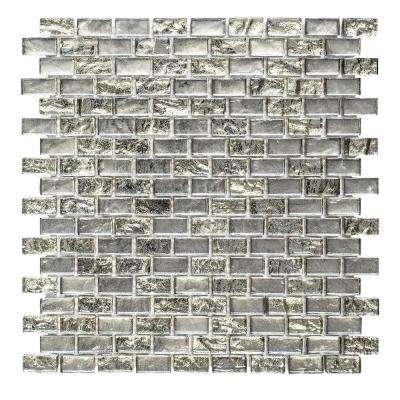 Treasure Bell Grey 11-7/8 in. x 12 in. x 8 mm Interlocking Textured Glass Mosaic Tile