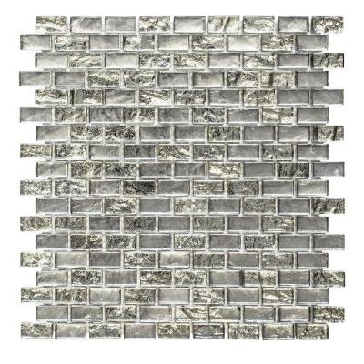 Treasure Bell Silver Metallic 11.875. x 11.375 in. Interlocking Brick Textured Glass Mosaic Tile (0.938 sq. ft./Each)