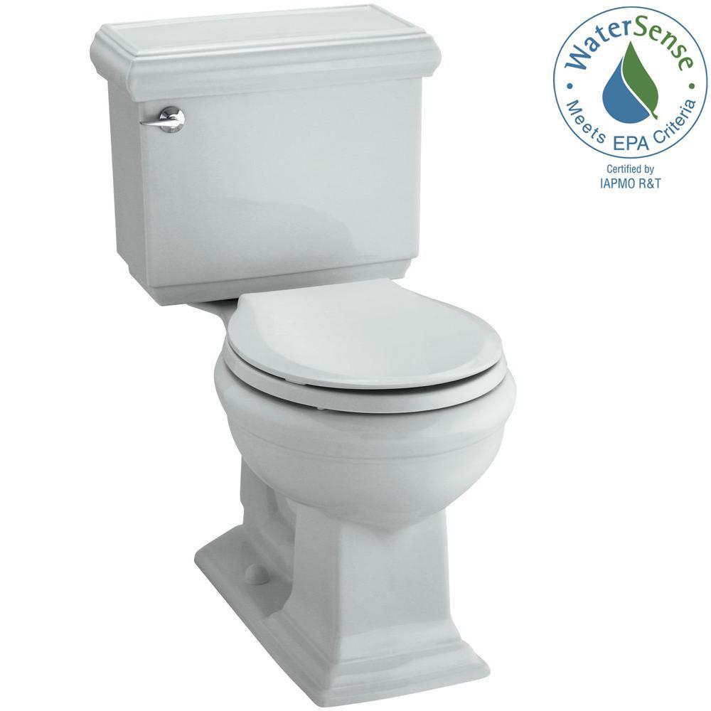 KOHLER Memoirs Classic 2-piece 1.28 GPF Round Toilet with AquaPiston Flushing Technology in Ice Grey