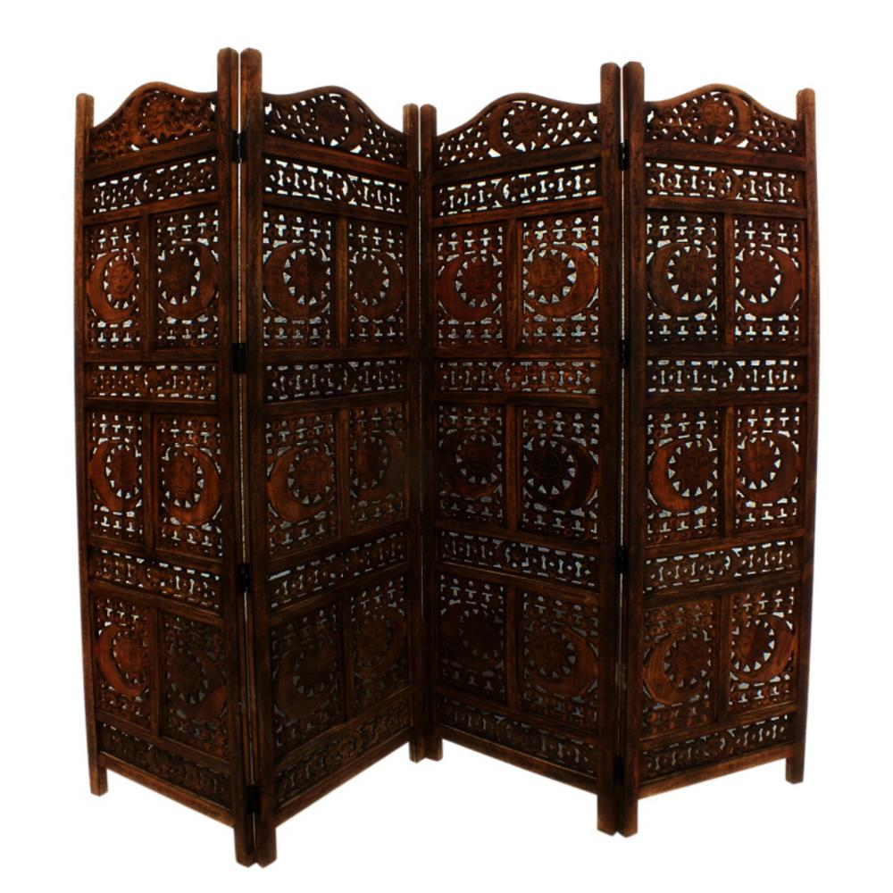 Brown Sun And Moon Design Foldable 4 Panel Wooden Room Divider
