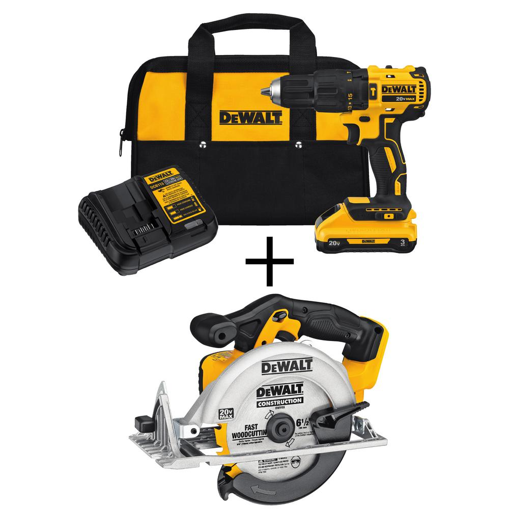 20-Volt MAX Lithium-Ion Cordless Brushless Hammerdrill w/ 3.0Ah Battery &