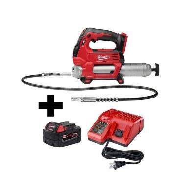 M18 18-Volt Lithium-Ion Cordless Grease Gun 2-Speed W/M18 Starter Kit W/one 5.0 Ah Battery and Charger