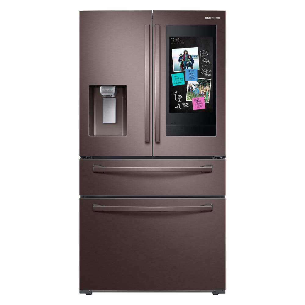 Samsung Samsung 22.2 cu. ft. Family Hub 4-Door French Door Smart Refrigerator in Fingerprint Resistant Tuscan Stainless, Counter Depth, Fingerprint Resistant
