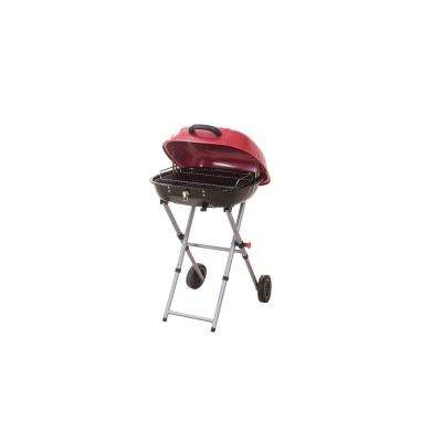 Portable Charcoal Grill in Red with Charcoal Tray and Grate