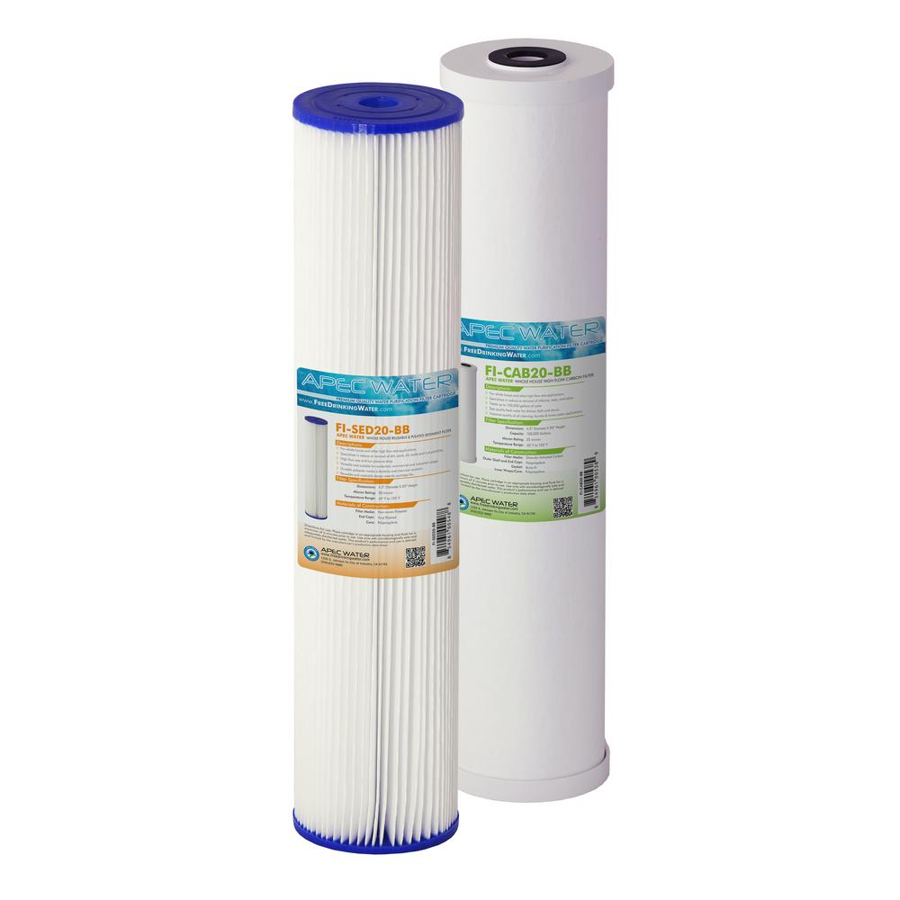 APEC Water Systems 20 in. Whole House Sediment and Carbon Replacement Water Filter Set Enjoy Clean, Clear, Sediment and Chlorine Free Water at Every Faucet. The two (2) 4.5 in. x 20 in. BB specialty filters can effectively treat a variety of water concerns. This filter combo can effectively filter out sediment, chemicals and chlorine to deliver clean and safe water to all of your water faucets. Uniquely designed for versatile use to meet all of your large capacity filtration needs. Suitable for all 20  BB whole house housing, simple whole house filtration, light commercial use or industrial applications. 1st stage sediment filter captures and traps dirt, sand, silt, scale and rust particles down to 30 microns. This durable, polyester filter has a pleated design to maximize dirt-holding capacity and is washable and reusable. 2nd stage carbon filter is a radial flow granular activated carbon (GAC) cartridge that effectively adsorbs chlorine, odors, taste and organic compounds. Designed to provide fast flow rates and low pressure drops, this premium-grade filter delivers chemical-free water to every faucet and water outlet.