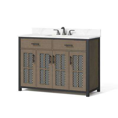 48 in. W x 34.5 in. H Bath Vanity in Sable with Engineered Stone Vanity Top in Jazzy White with Jazzy White Basin