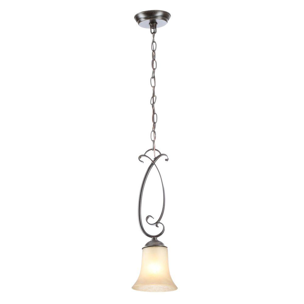Essex 1-Light Aged Black Mini Pendant with Tea Stained Glass Shade