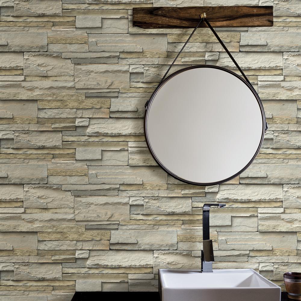 NuWallpaper Stone Slate Peel and Stick Wallpaper Roll by NuWallpaper