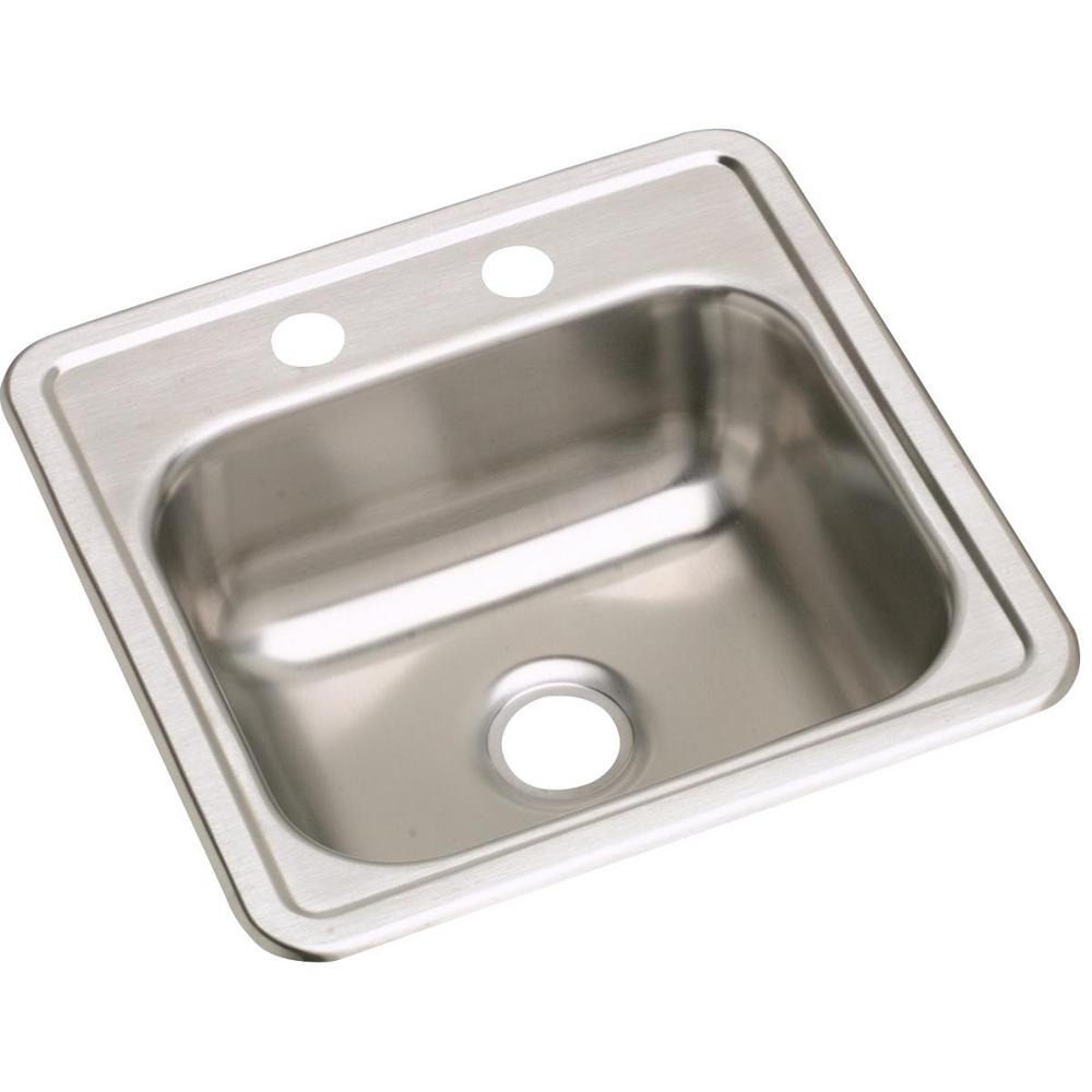 Dayton Drop-in Stainless Steel 15 in. 2-Hole Single Bowl Bar Sink