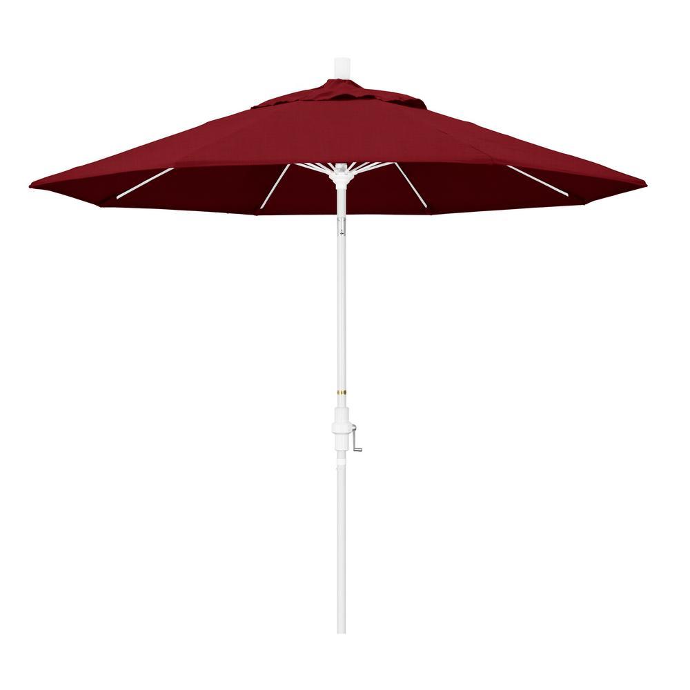 California Umbrella 9 ft. Matted White Aluminum Collar Tilt Crank Lift Market Patio Umbrella in Spectrum Ruby Sunbrella